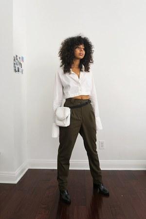 white vintage Yoneda Kasuko blouse - black Zara boots