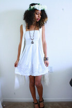 white dress - white hat - white fringe H&M cardigan
