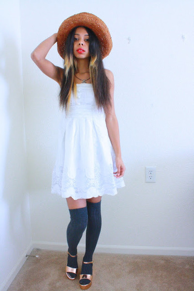 gold platforms Lulus sandals - white dress - orange hat