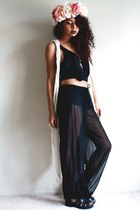 black tank top vintage t-shirt - black sheer vintage pants