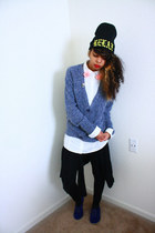 black cardigan - heather gray cardigan - blue Forever 21 shoes