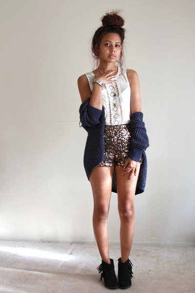 gold sequined Forever 21 shorts - black fringe Heavenly Couture boots