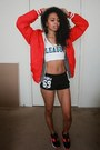 Red-varsity-disney-jacket-black-street-style-hellz-bellz-shorts