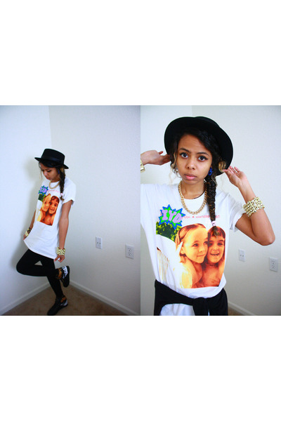 black windsor hat - white Hot Topic shirt - gold Forever21 necklace