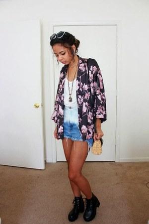 bubble gum kimono blossom H&M cardigan - black chunky Armkel boots