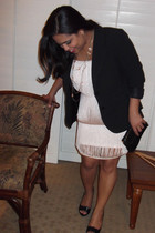 light pink H&M dress - black apostrophe blazer - black vintage bag - light pink