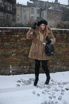 brown vintage coat - black vivienne westwood bag - black Beyond Retro hat - blac