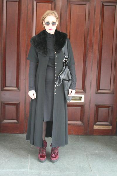 maroon Emma Cook shoes - black vintage accessories - black DIY dress - black viv