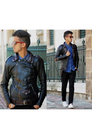 PERFECTO jacket - Place du jour shirt - ray-ban sunglasses