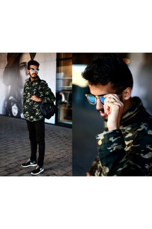 Aldo ring - Front Row Shop coat - sammydress bag - giant vintage sunglasses