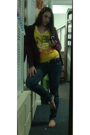 purple jacket - yellow Old Navy t-shirt - blue American Eagle jeans - brown Brig