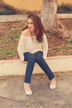 navy Sfera jeans - off white Sfera cardigan - white Sfera sandals