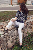 navy Zara shoes - white pull&bear jeans - black Zara necklace