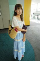 light blue dress - yellow wc bag - white wc top
