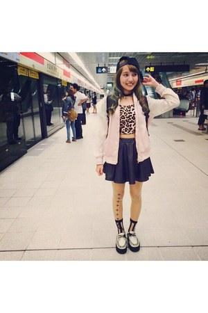 Forever 21 top - pink e hyphen world gallery jacket - dark gray skirt