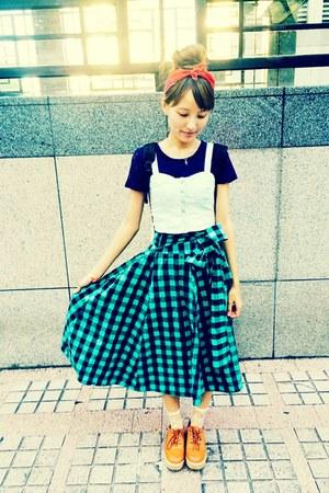 teal skirt - navy navy crop top top - light blue Forever 21 top