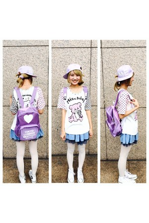 periwinkle hat - Converse shoes - periwinkle bag - white t-shirt