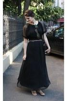 black vintage dress - H&M sandals - handmade by me Alice&Sara accessories