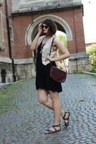 black H&M dress - coral Forever 21 bra - heather gray vintage vest - silver hand