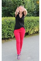 magenta random brand shoes - white vintage scarf - red Old Navy pants - black ra