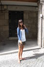 Blue-h-m-cardigan-white-mango-top-green-zara-shorts-brown-french-connectio