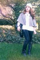 black Audrey Brooke boots - cream tie neck ann taylor blouse
