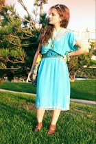 turquoise blue butterfly vintage dress - sky blue Anthropologie bag