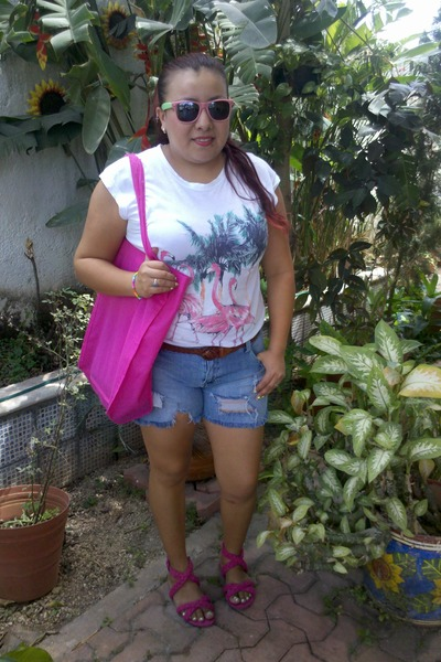DIY shorts - Ecologica bag - Zara sandals - Zara t-shirt