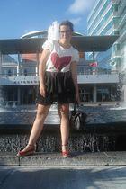 beige Forever 21 shirt - black Forever 21 skirt - red Cherokee shoes - black For