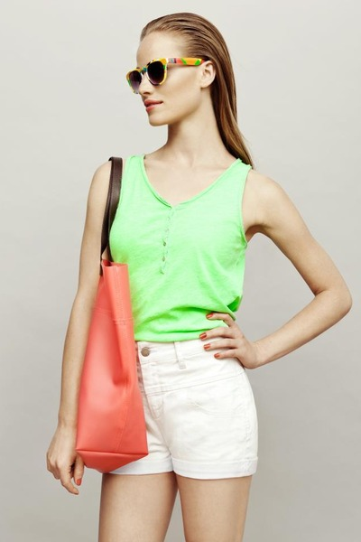 chartreuse neon top - salmon bag - white shorts