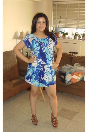 blue Forever 21 dress - brown Aldo shoes
