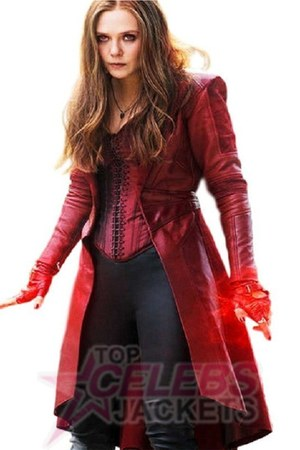 ruby red leather Topcelebsjackets coat