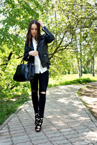 black leather PeleCheCoco jacket - black Zara jeans - black Love Republic bag