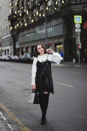 black shein dress - white zaful blouse