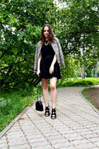 black Zara sandals - heather gray pull&bear jacket - black oodji skirt