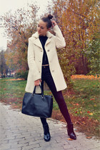 off white Motivi coat - black Zara boots - black Zara jeans - black Zara sweater