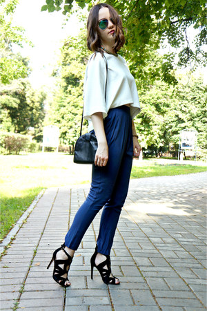 white Zara top - navy Incity pants - black Zara heels