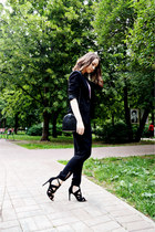 black sela blazer - black Zara pants - light purple next top - black Zara heels