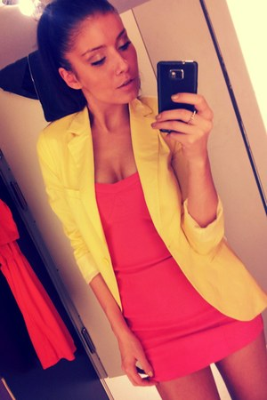 salmon tube Amisu dress - light yellow classy fishbone blazer