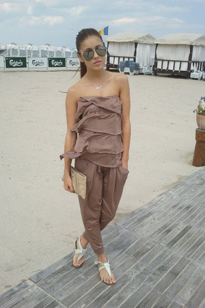 charcoal gray random sunglasses - tan random romper - beige mafypaz sandals