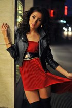 ruby red red chic redeem dress - black leather H&M jacket