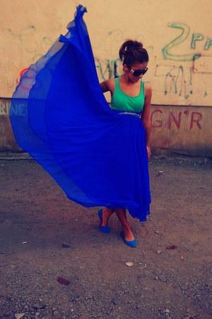 blue maxi random skirt - aquamarine basic H&M top