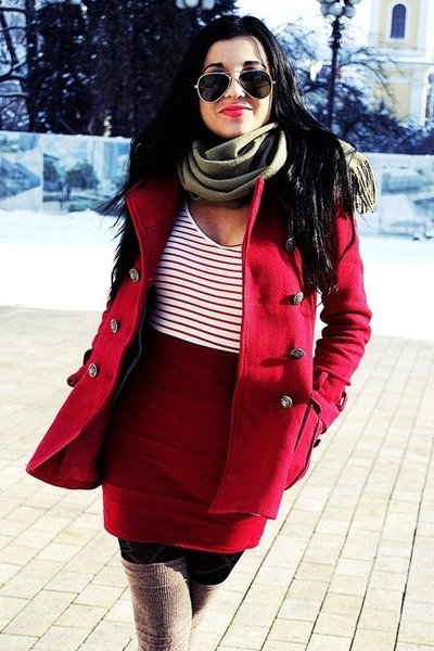 ruby red military Stradivarius jacket - eggshell striped Str shirt - dark khaki