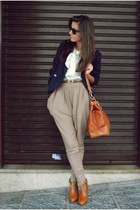 navy new look blazer - white bow tie random shirt - tawny leather random bag