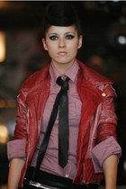 brick red leather danny rose jacket - maroon checkered danny rose shirt