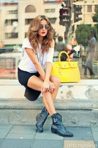 light yellow No1 bag - charcoal gray No1 boots - black No1 dress