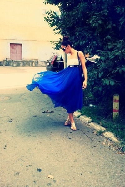 blue chiffon maxi random brand dress - ivory criss-cross Newlook top