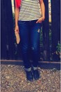 Navy-ripper-zara-jeans-red-chuiffon-random-scarf-ivory-striped-h-m-t-shirt