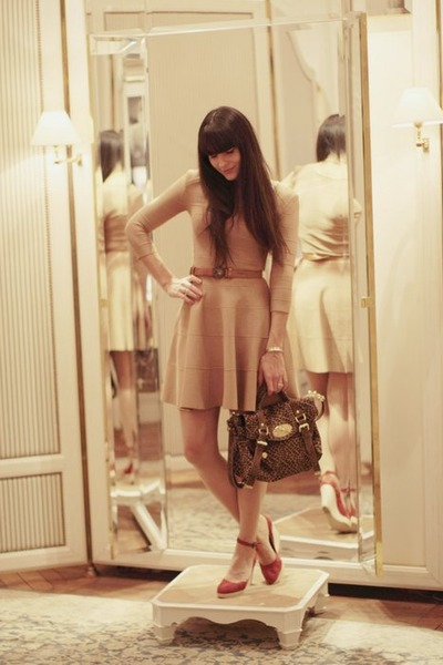 brown belanciga belt - nude Mango dress - brick red Newlook wedges