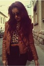 Brown-leather-amisu-jacket-crimson-ysl-accessories-black-zara-skirt